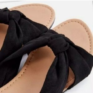 SALE NWT Black Slip On Top Knot ' Suede ' Sandals